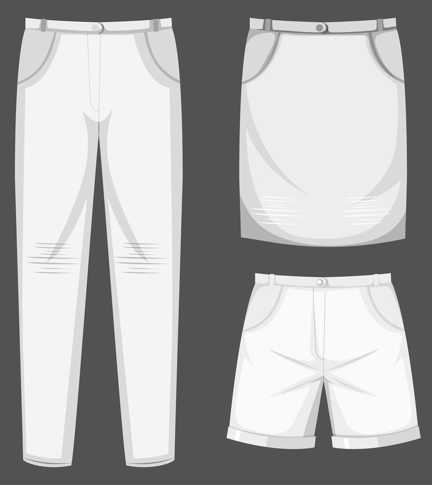 conjunto de roupas brancas isoladas vetor