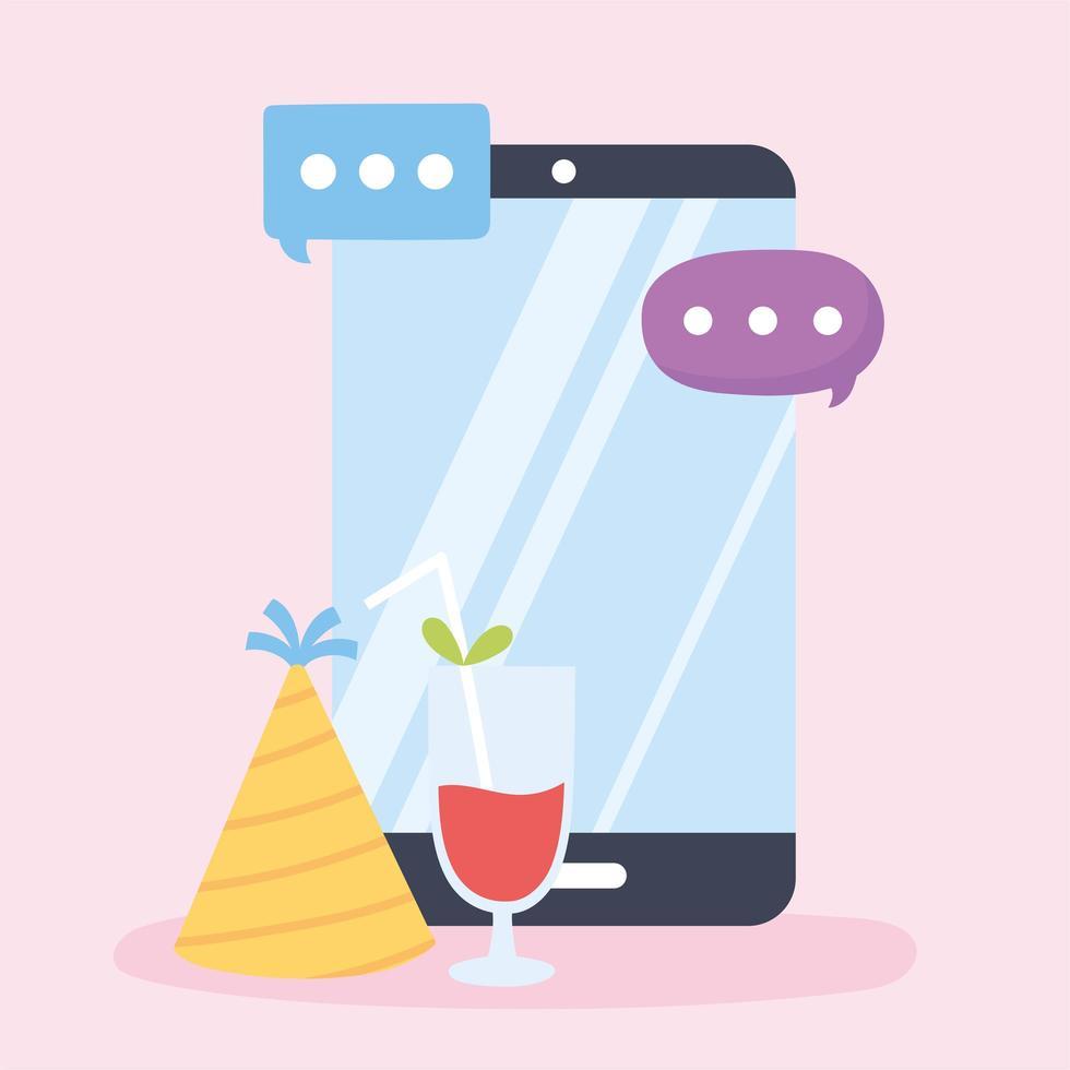 conceito de festa online com smartphone vetor