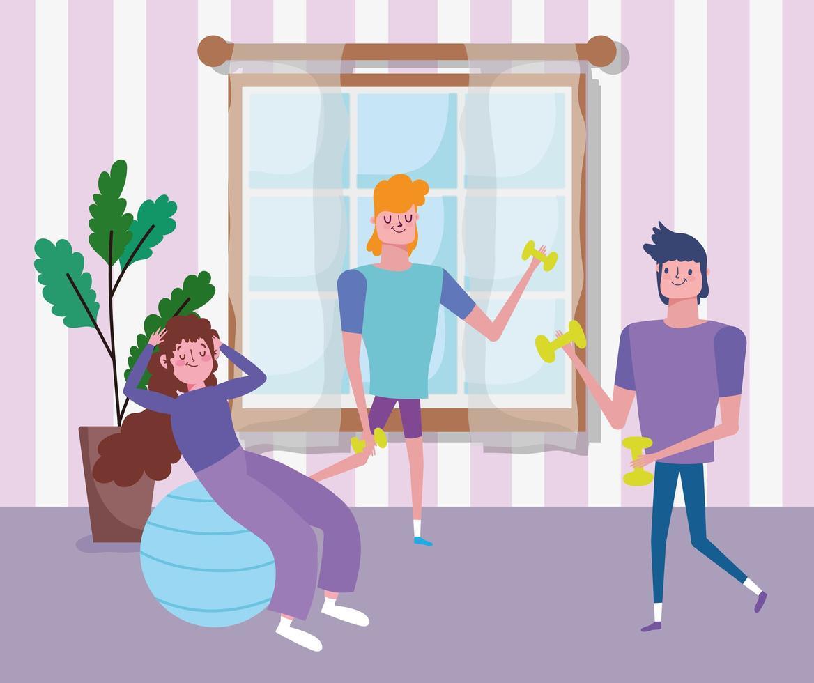 jovens trabalhando juntos dentro de casa vetor