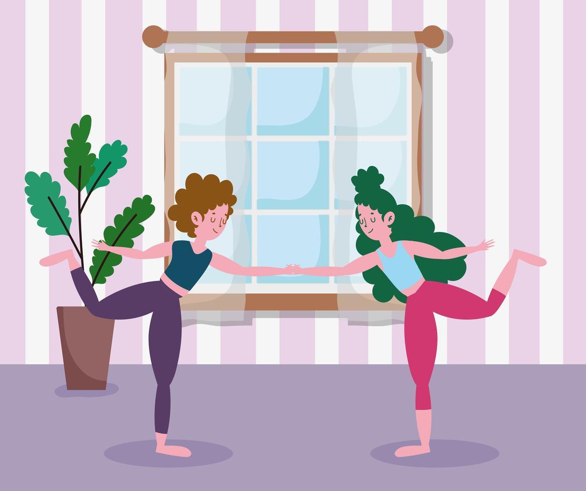 meninas praticando ioga juntas em casa vetor