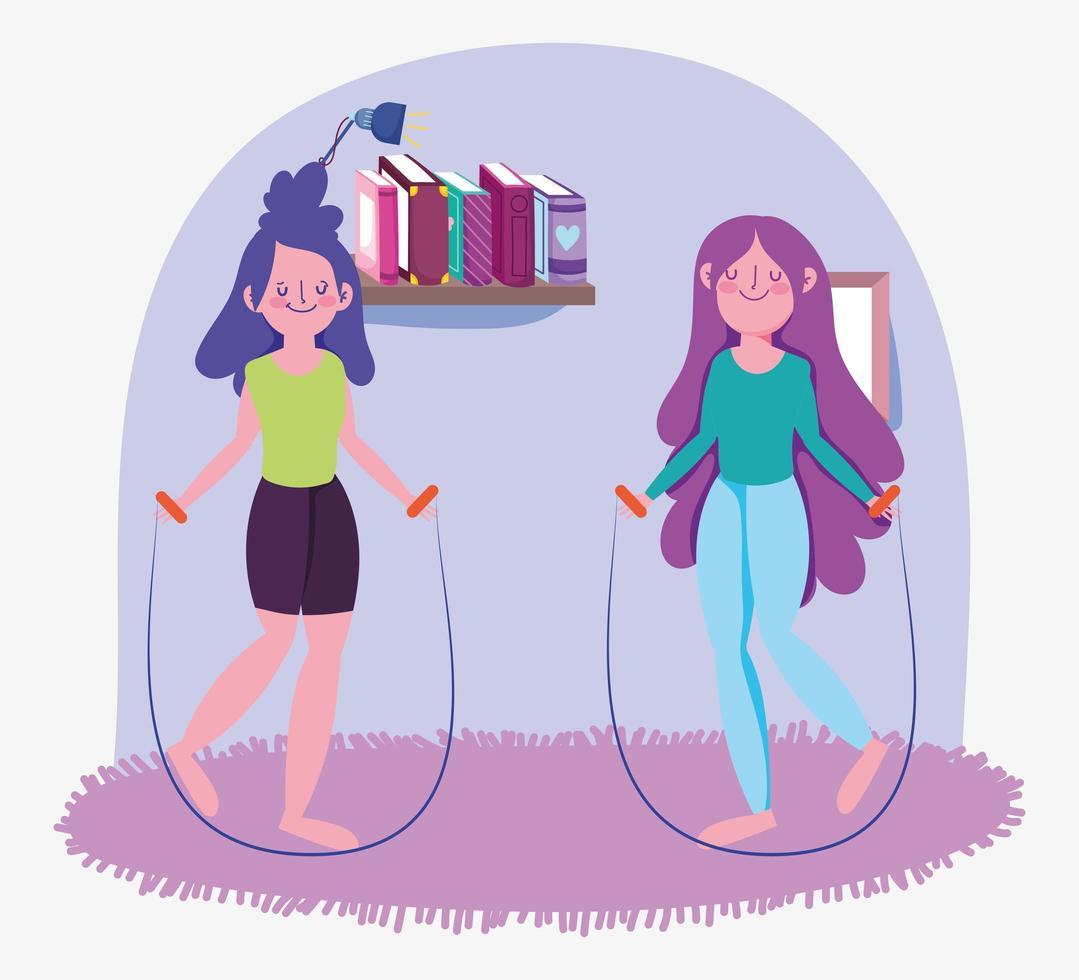 meninas pulando corda em casa vetor