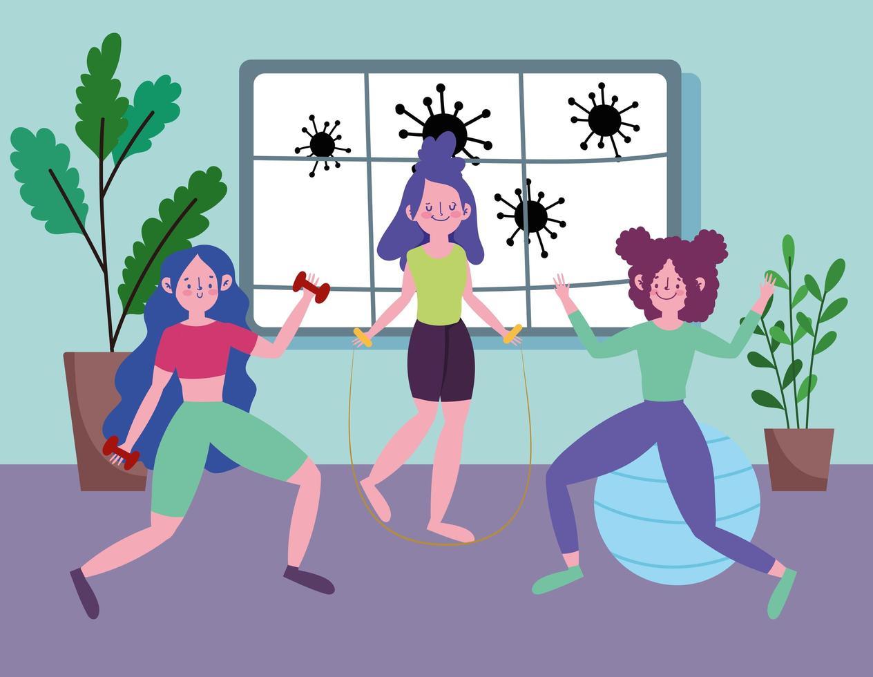 mulheres jovens trabalhando em casa vetor