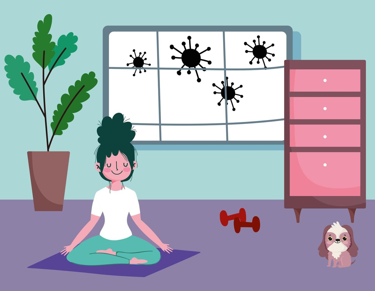 jovem fazendo ioga em casa vetor