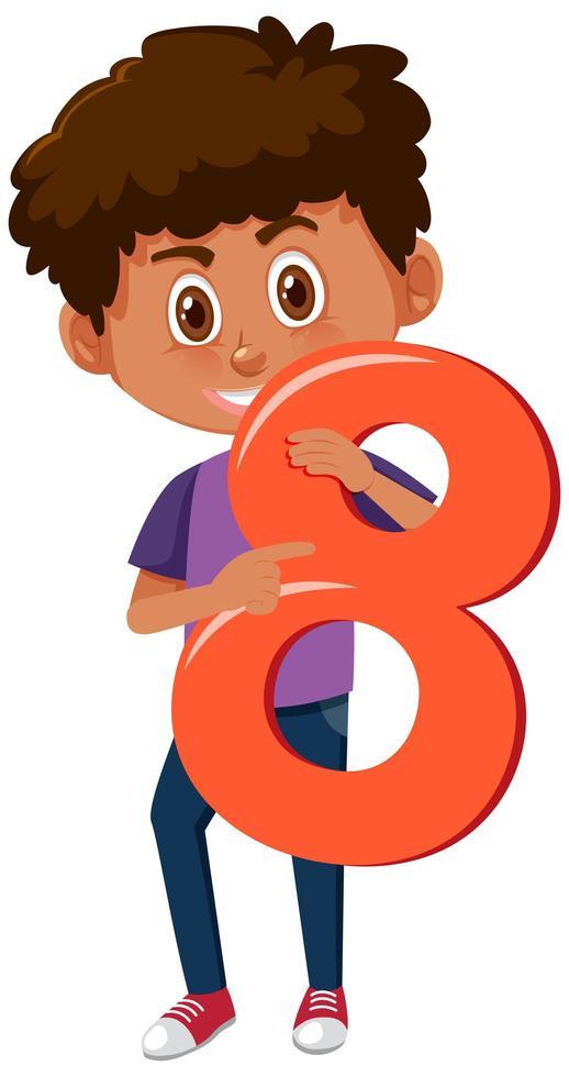 menino segurando o número 8 vetor