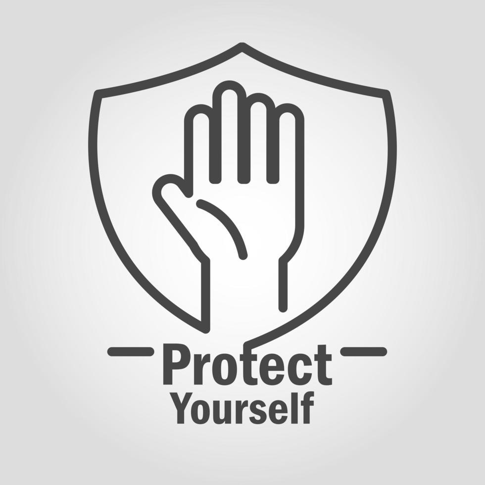 proteja-se ícone do pictograma vetor