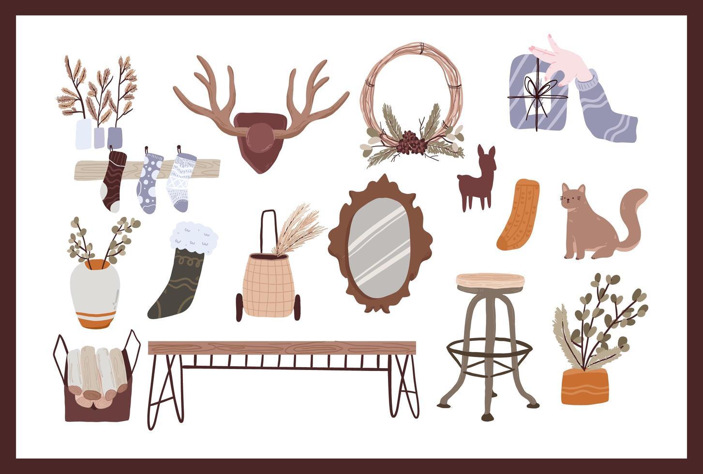 conjunto de elementos de desenhos animados fofos de natal vetor