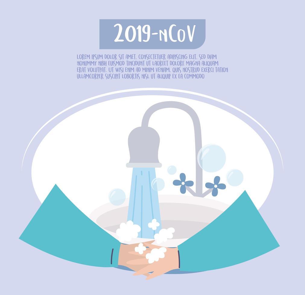 lavar as mãos, banner de modelo de prevenção de coronavírus vetor