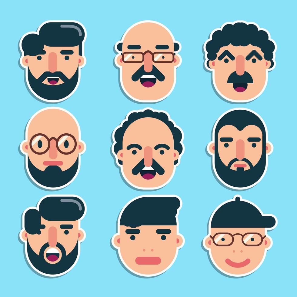 conjunto de rostos masculinos fofos design plano vetor
