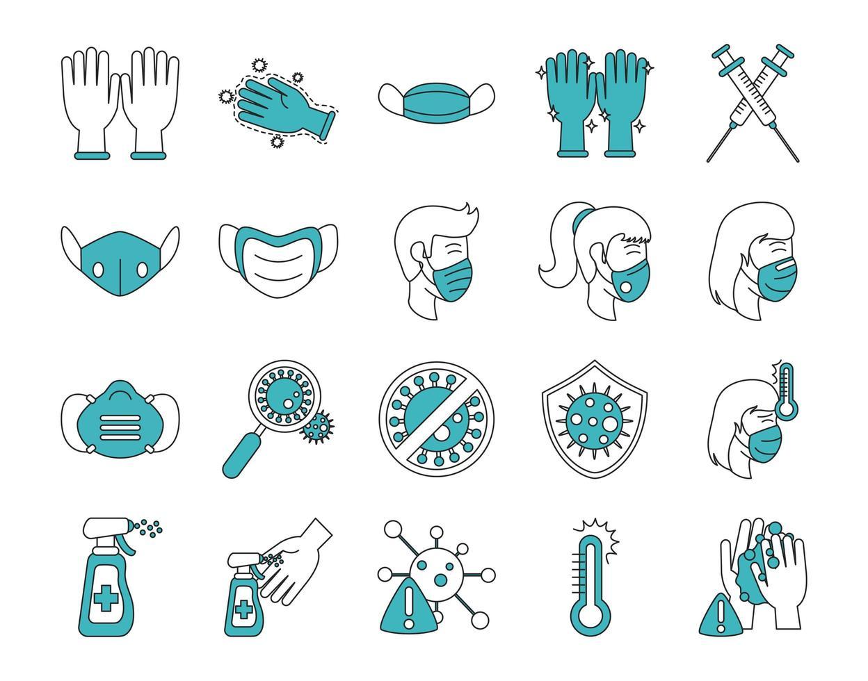 conjunto de ícones de infecção viral e coronavírus vetor