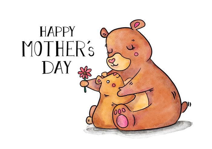 Bonito mãe urso e do filho Abraço com letras E Flor vetor