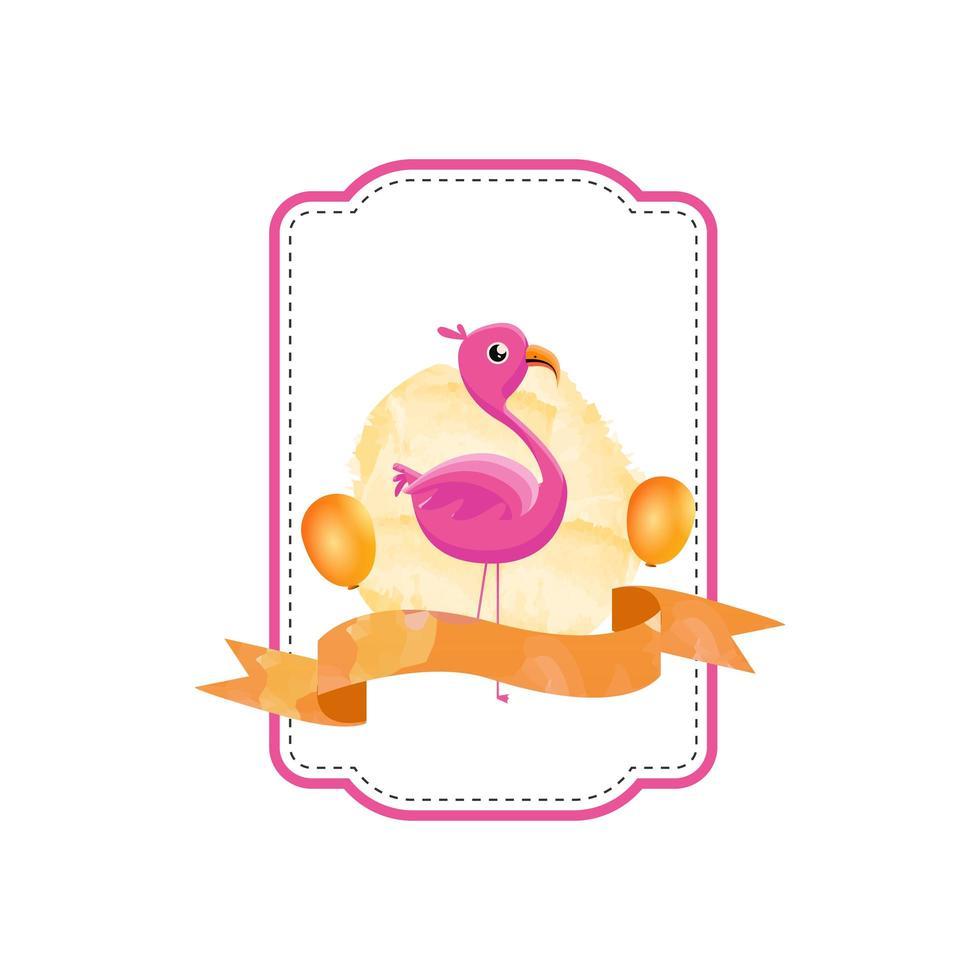 desenho de crachá de flamingo animal vetor
