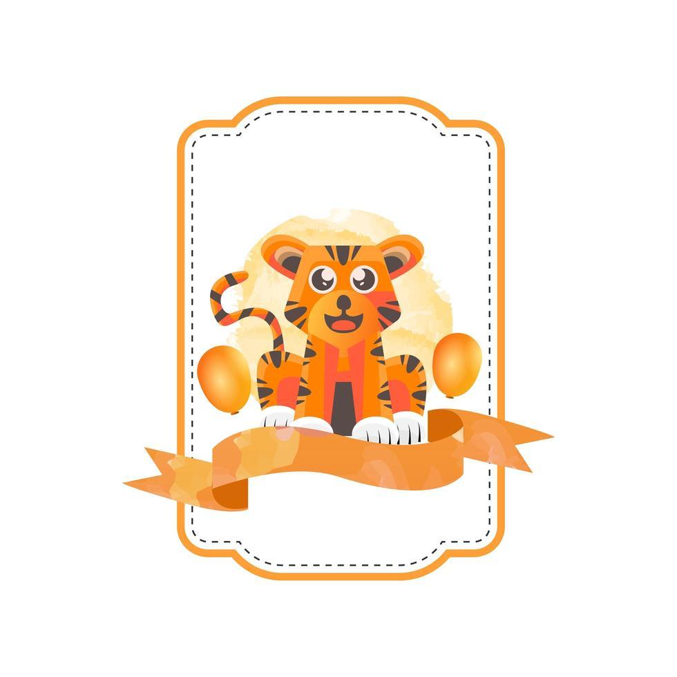 desenho de crachá de tigre animal vetor
