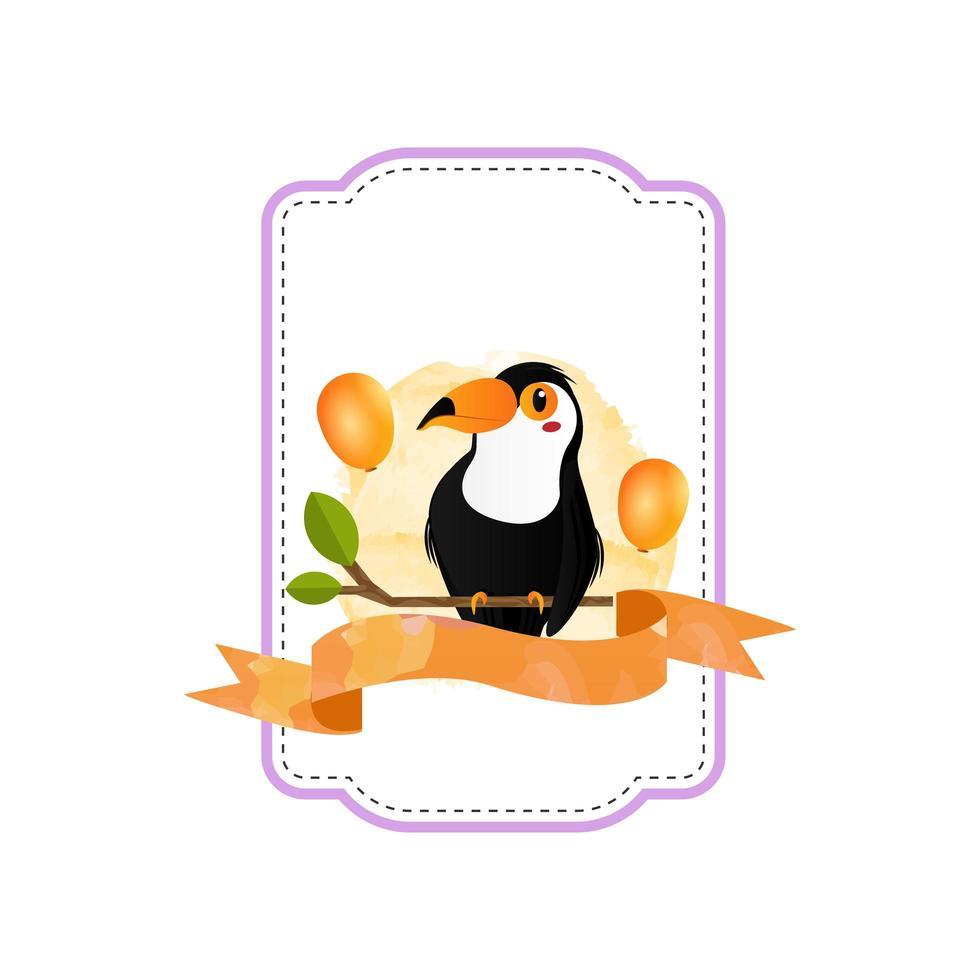 design de crachá pássaro chifre animal vetor