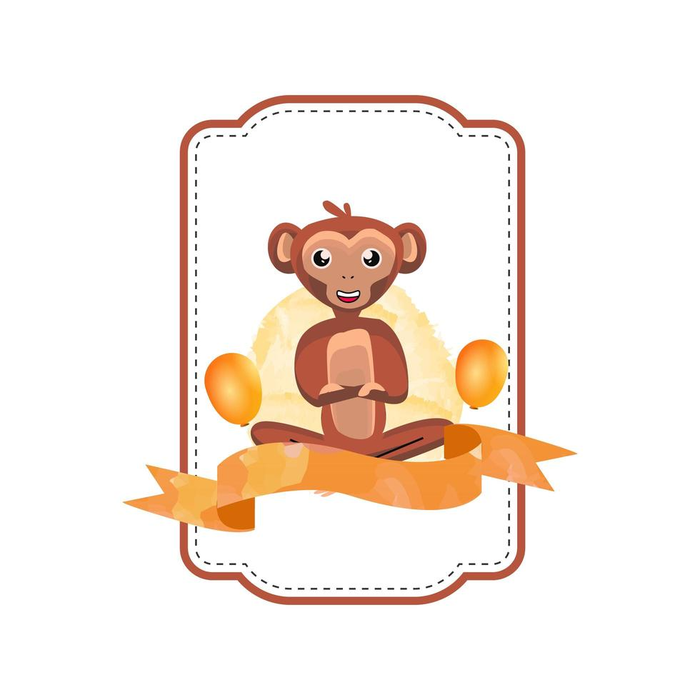desenho de crachá de macaco animal vetor
