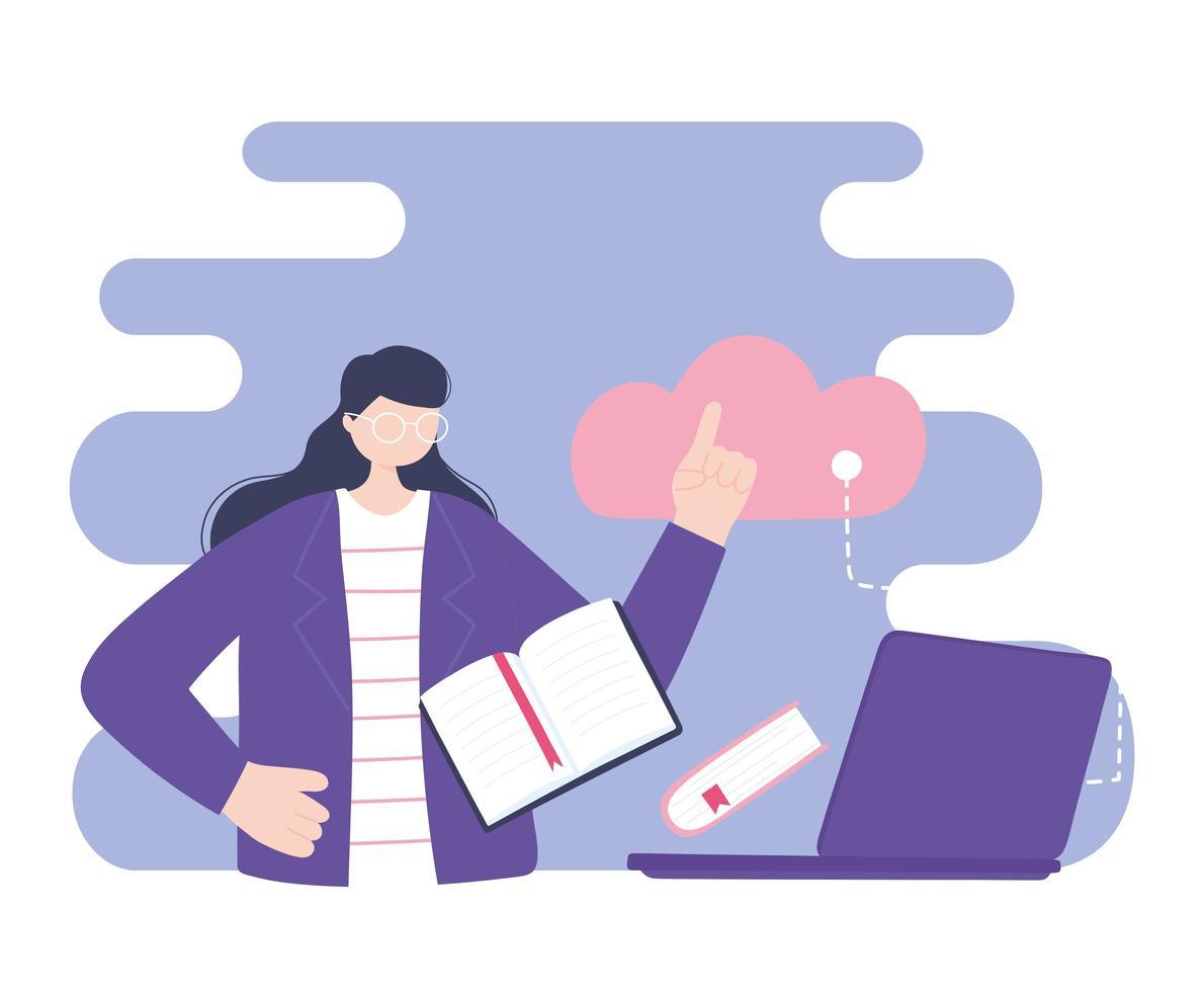 treinamento online, mulher usando laptop para computação em nuvem vetor