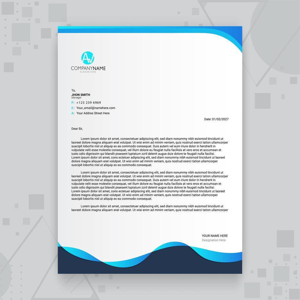 modelo de papel timbrado de negócios criativo onda azul vetor