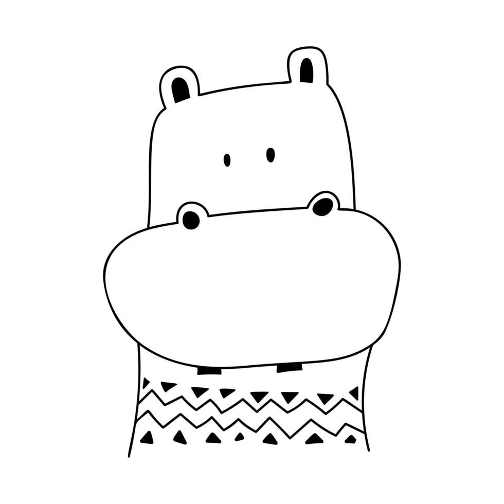 hipopótamo doodle fofo vetor