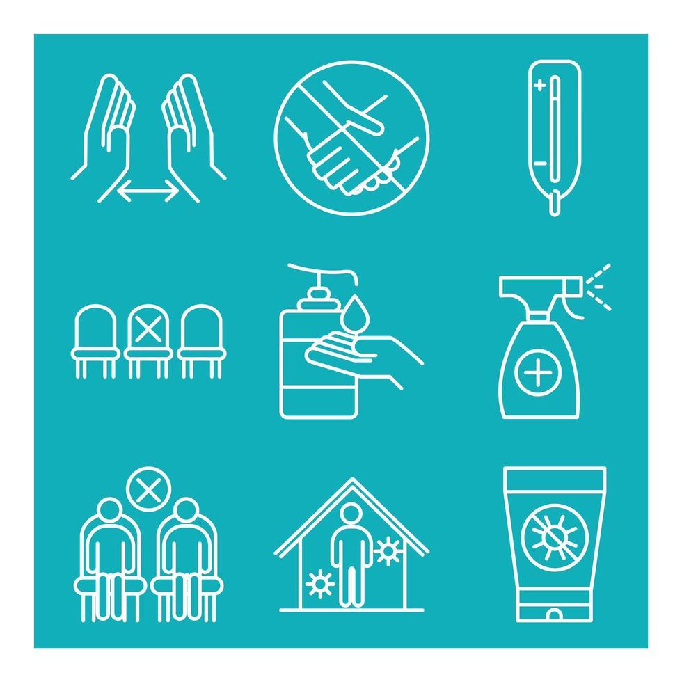 conjunto de ícones de pictograma de prevenção de coronavírus vetor