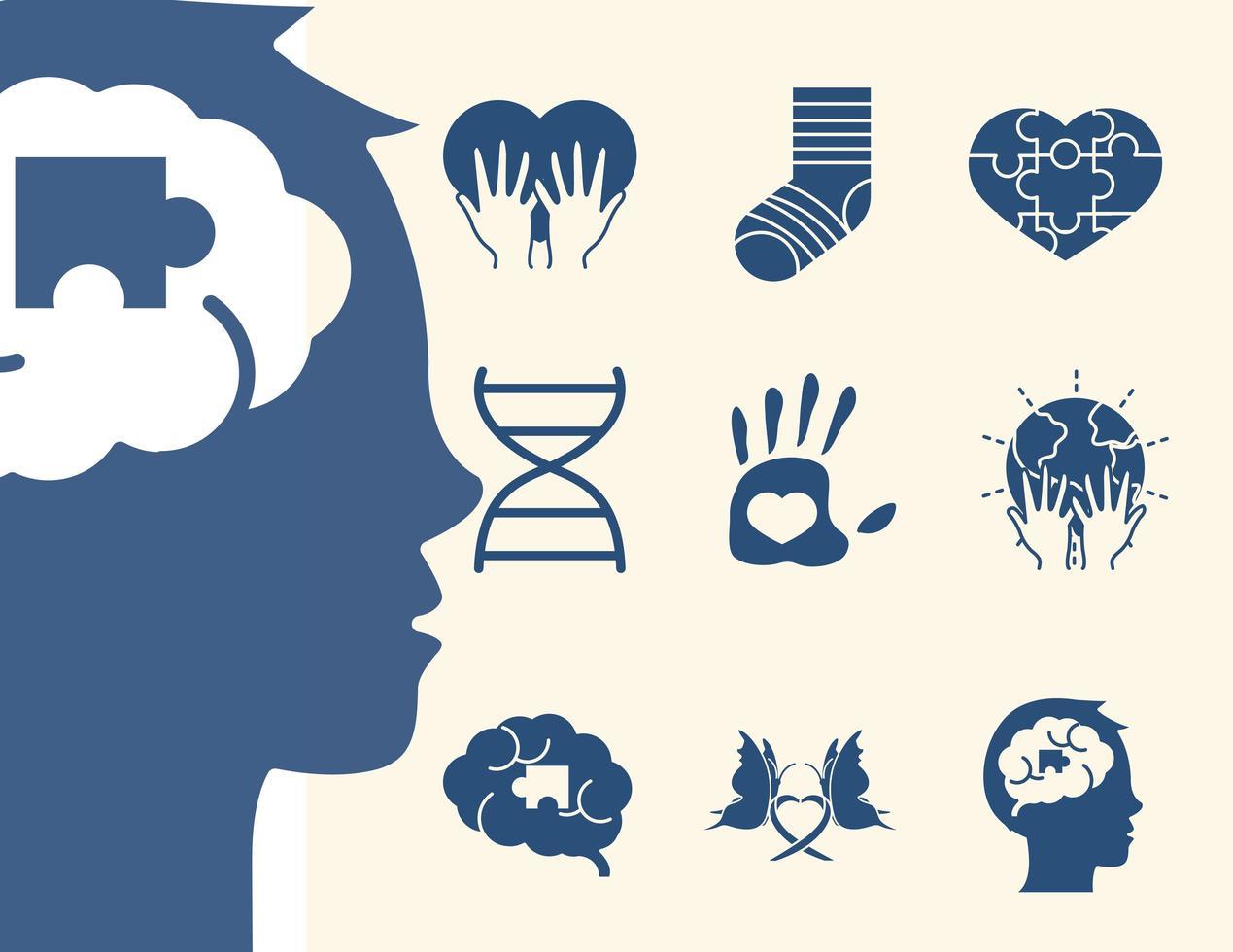 conjunto de ícones de pictograma do dia mundial da síndrome de down vetor