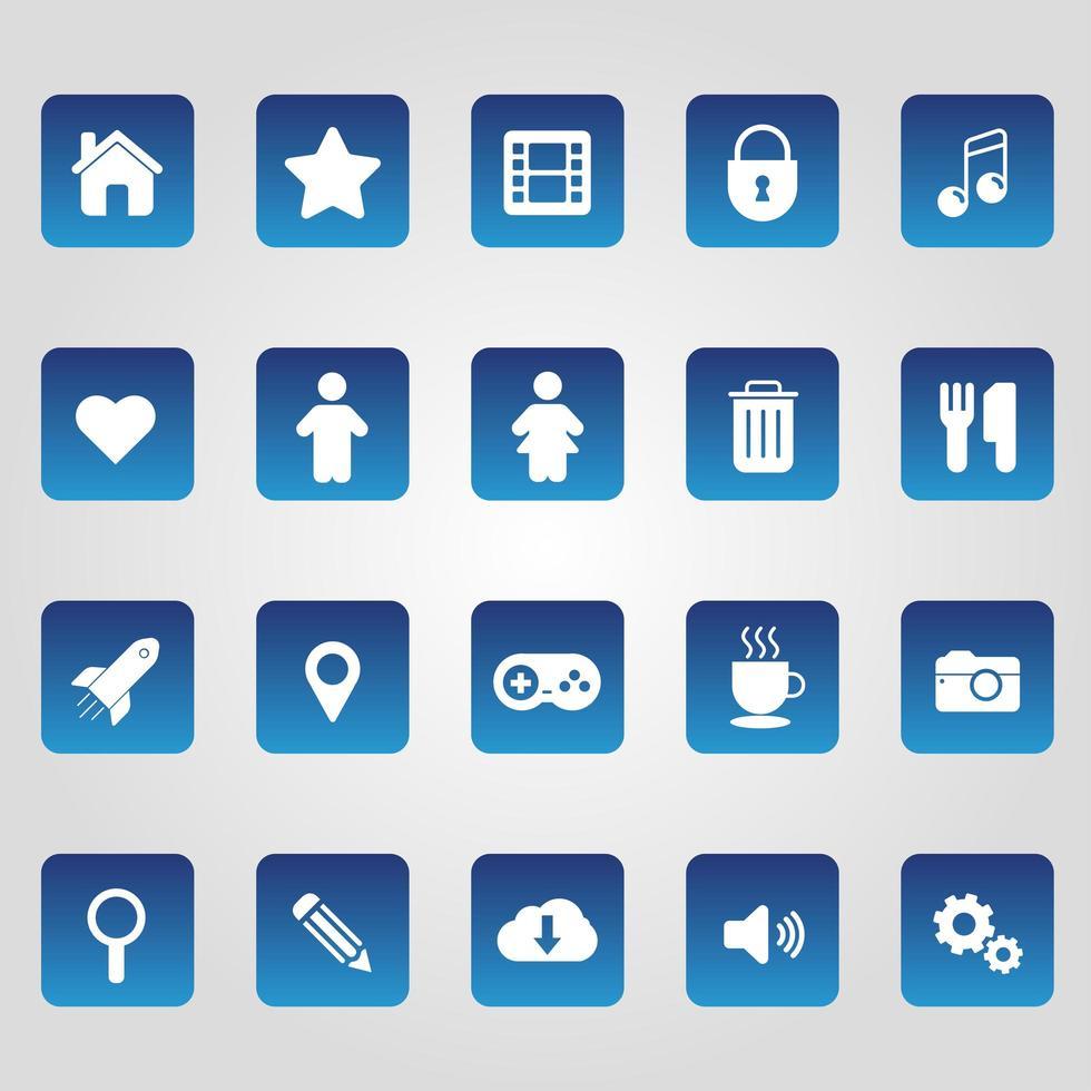 conjunto de ícones simples da web vetor