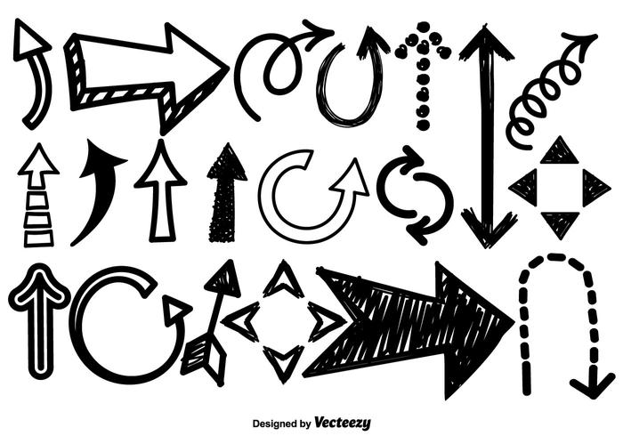 Conjunto de vetores de ícones de seta de Doodle