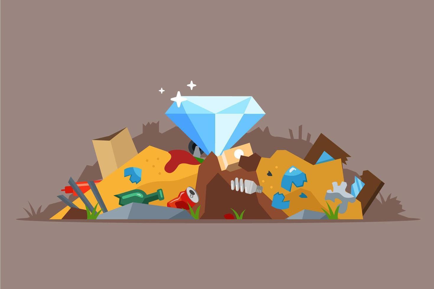 diamante na pilha de lixo vetor