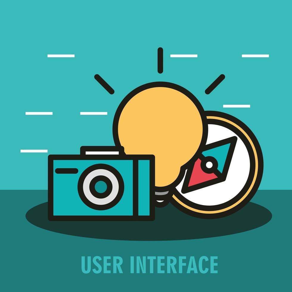 composição da interface do usuário com ícones de linha vetor