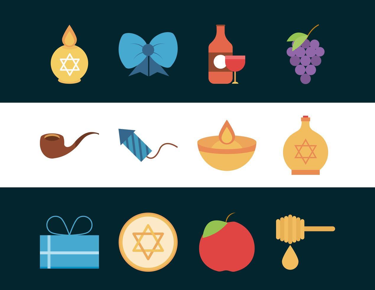 hanukkah, conjunto de ícones planos de cerimônia tradicional judaica vetor