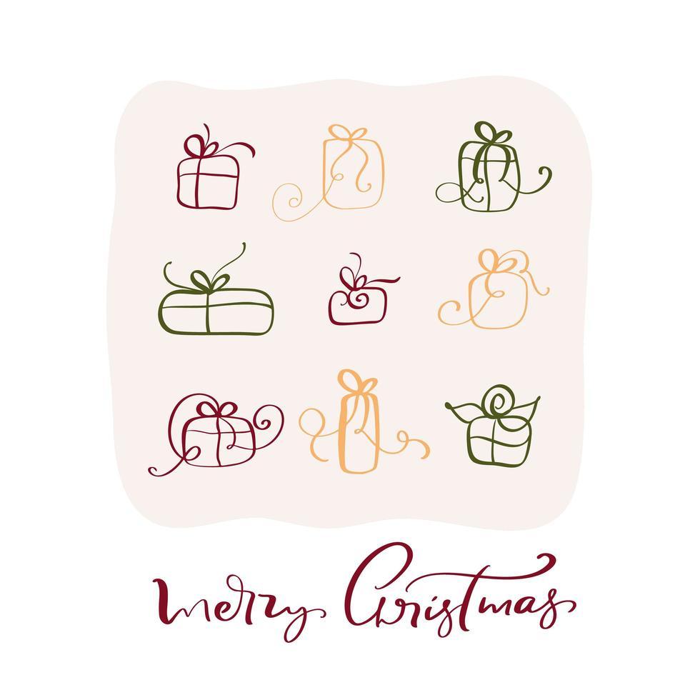 texto caligráfico vintage de feliz natal com caixas de presente vetor