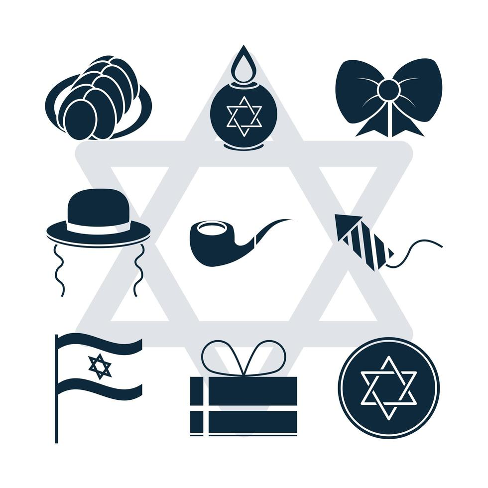 hanukkah, conjunto de ícones de silhueta de cerimônia tradicional judaica vetor