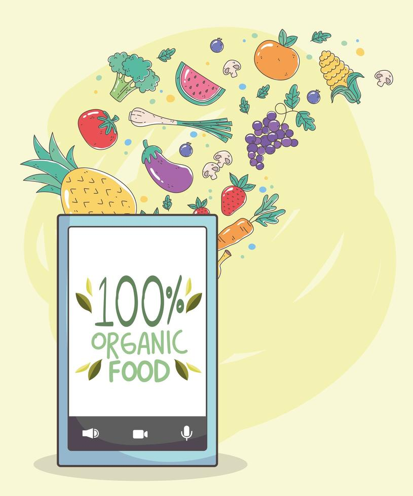 menu saudável e composição de comércio eletrônico de alimentos frescos vetor