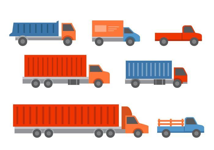 Truck livre e reboques Icons vetor