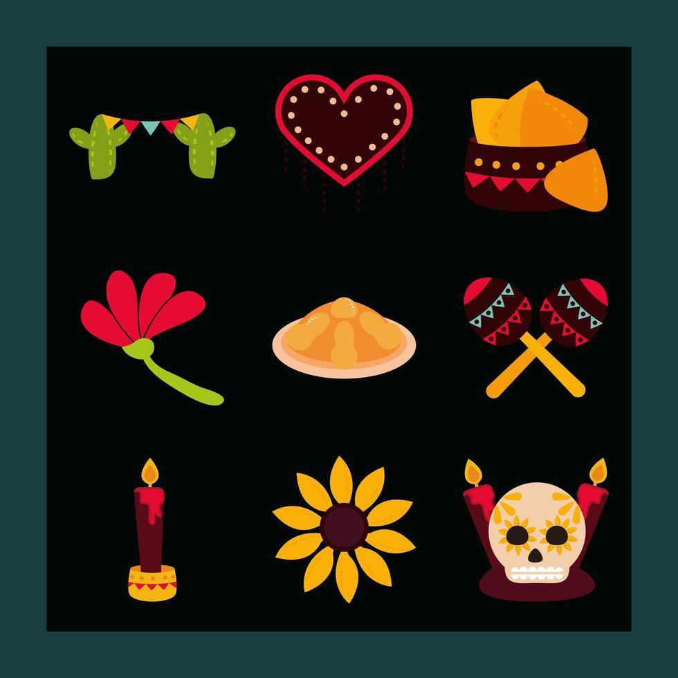 conjunto de ícones plana de celebração do dia dos mortos vetor