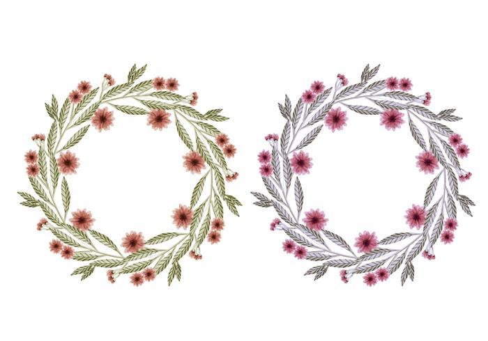 Coroas de flores desenhadas mão do vetor