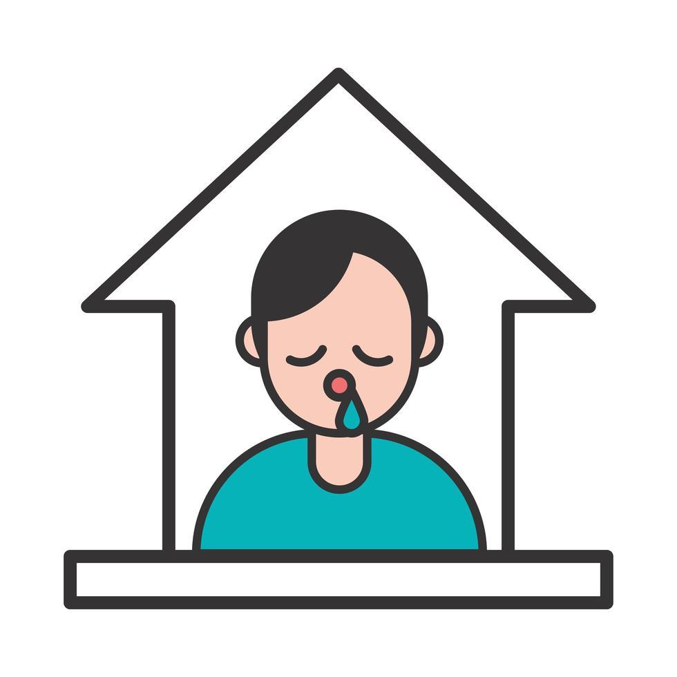 pessoa com sintoma de covid 19 de gripe fica em casa vetor