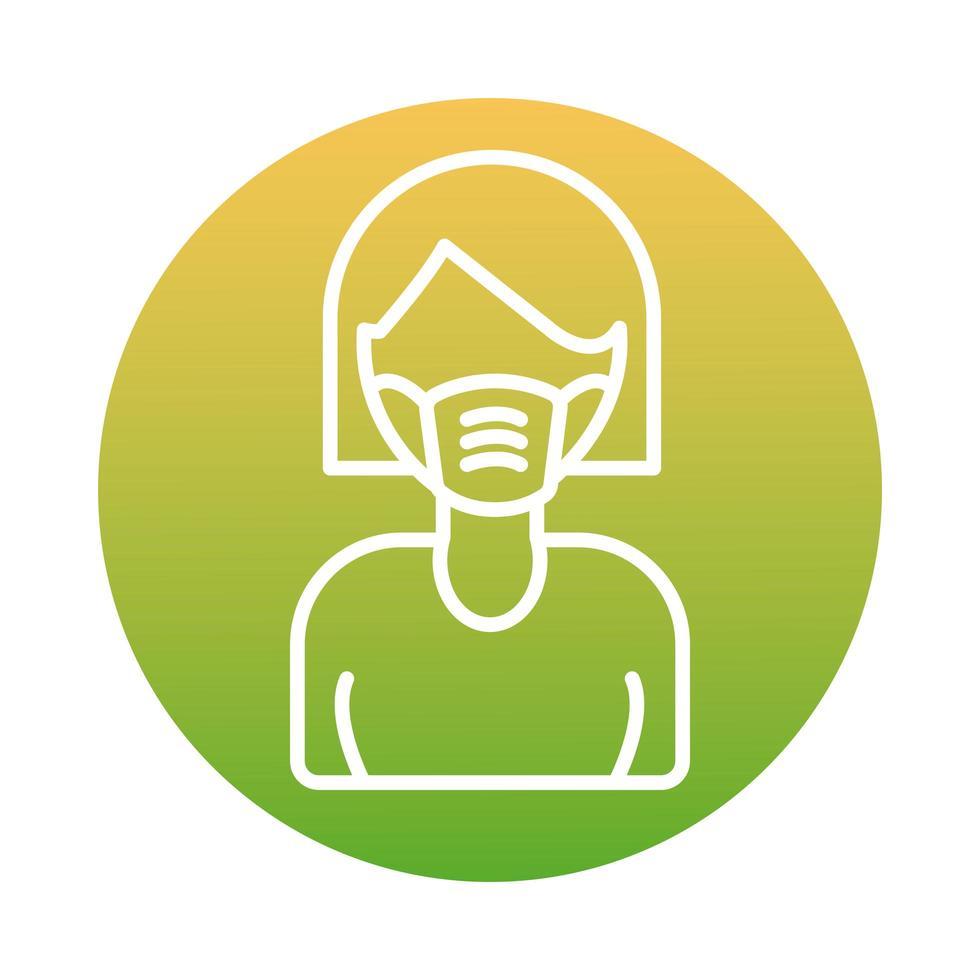 mulher usando ícone de estilo de bloco de máscara facial vetor