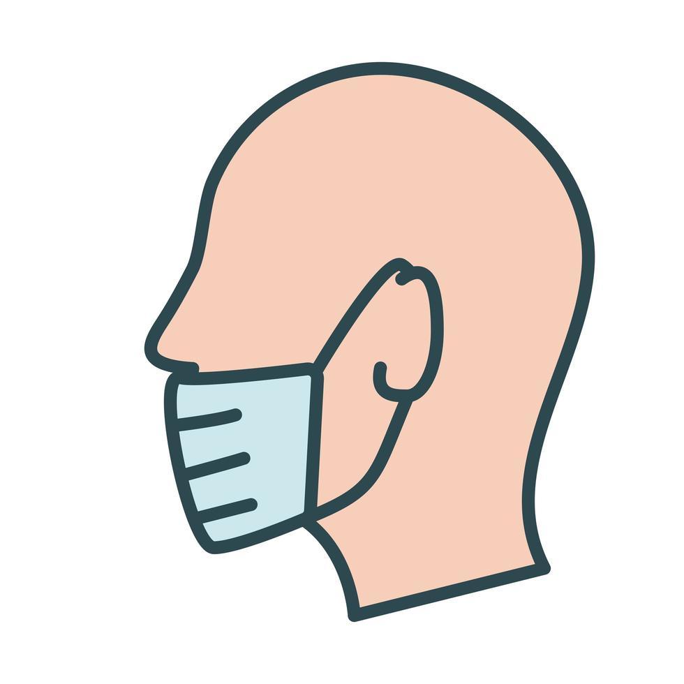 perfil usando ícone de estilo de preenchimento de máscara facial vetor