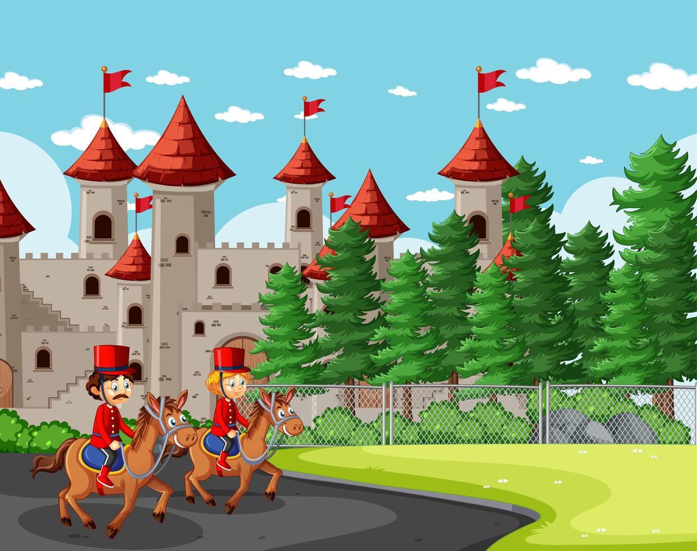 cena de conto de fadas com castelo e soldados reais vetor