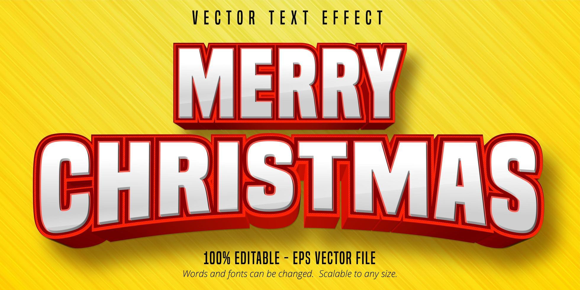 texto de feliz natal, efeito de texto editável de estilo natal vetor
