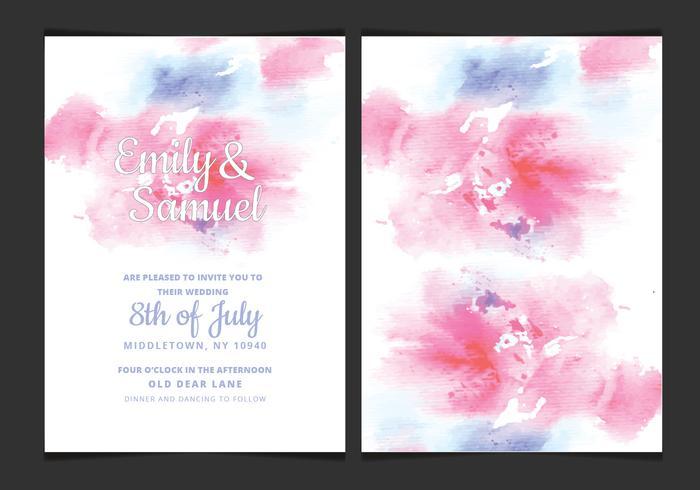 Convite do casamento Watercolor delicado Vector