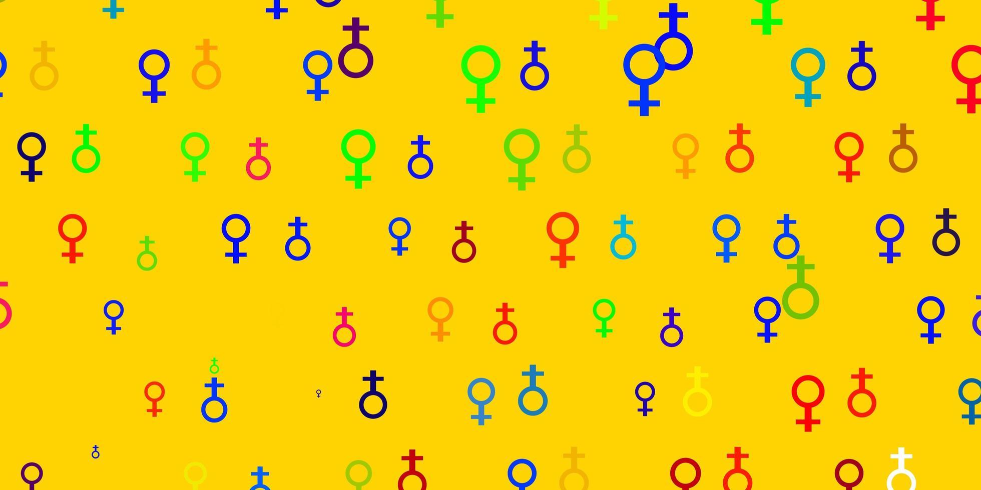 padrão multicolor com elementos do feminismo. vetor