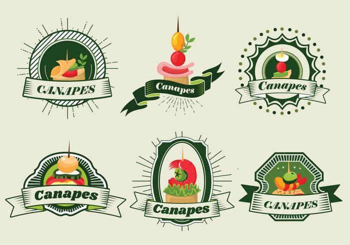Canapés Food Bandeira da etiqueta Cafe Vector