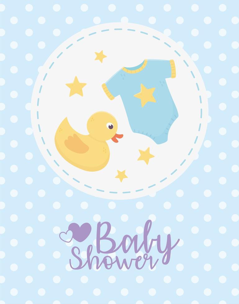 cartão azul do chuveiro de bebê com ícones de bebê vetor