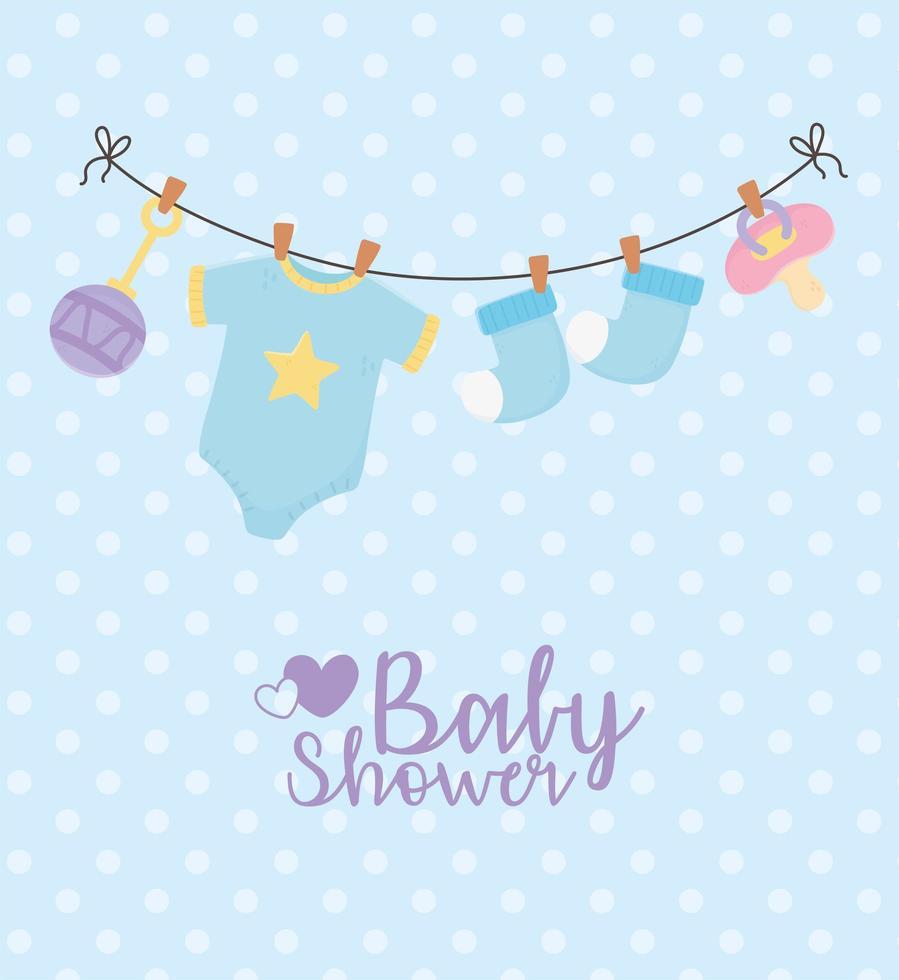 cartão azul do chá de bebê vetor
