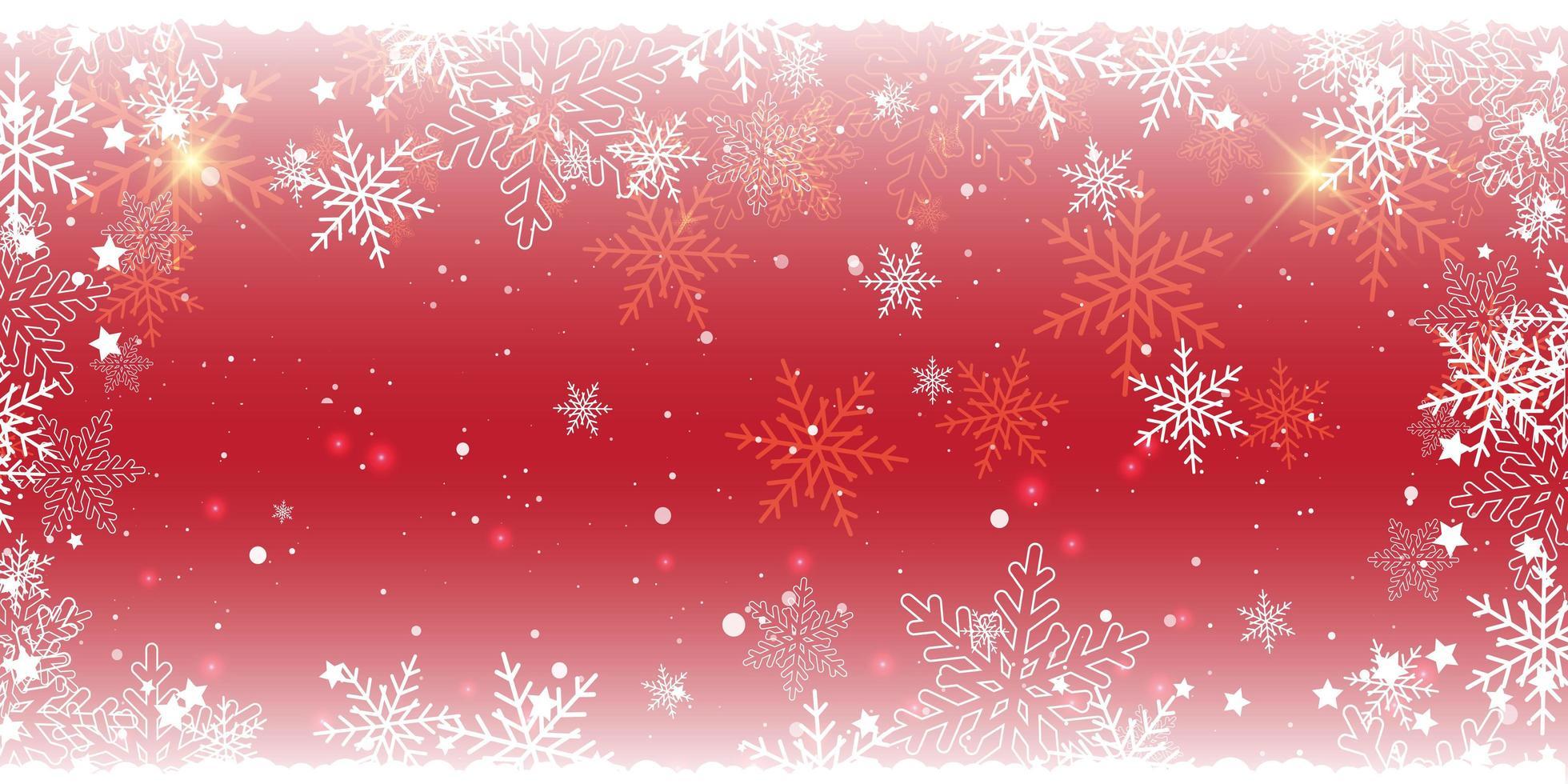 desenho de banner vermelho de floco de neve de natal vetor