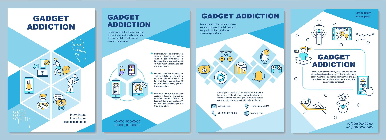 brochura sobre vício em gadgets, modelo azul vetor