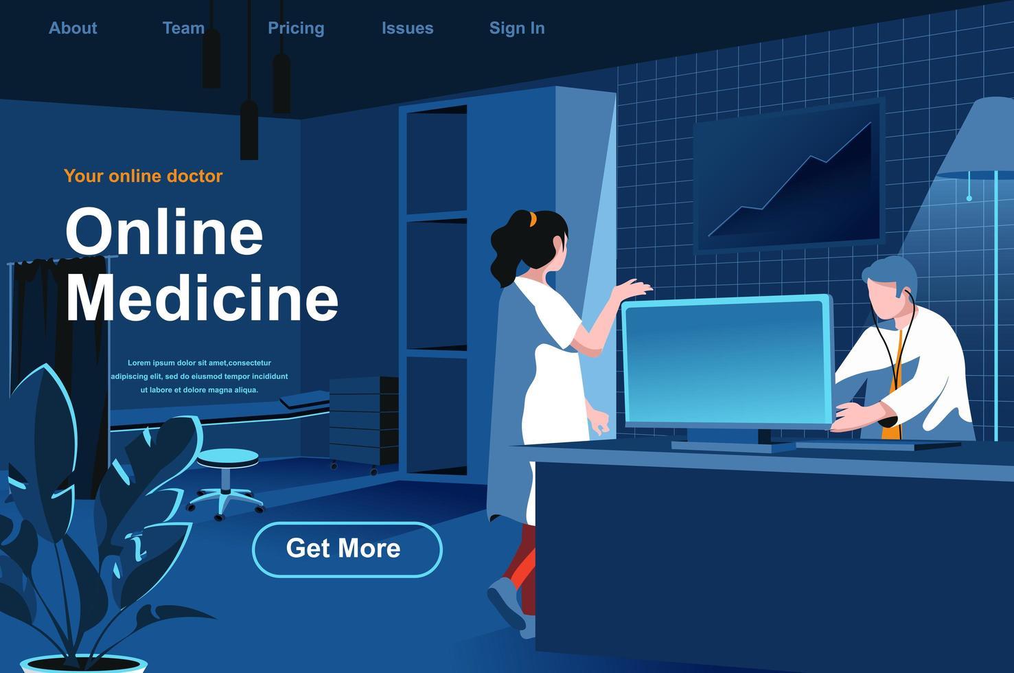 página de destino isométrica de medicina online vetor
