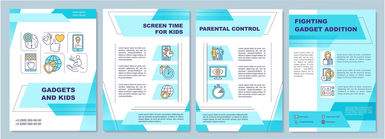 gadget e crianças, modelo de folheto vetor
