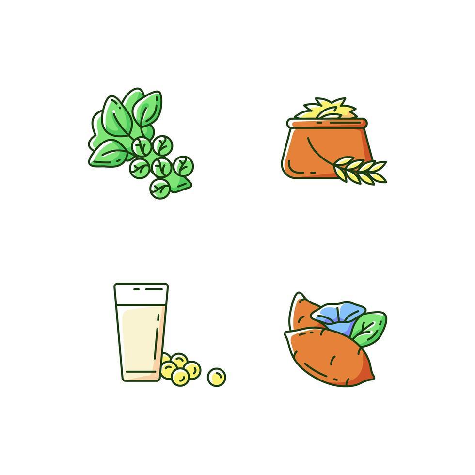 vegetais saudáveis, conjunto de ícones de cores rgb vetor
