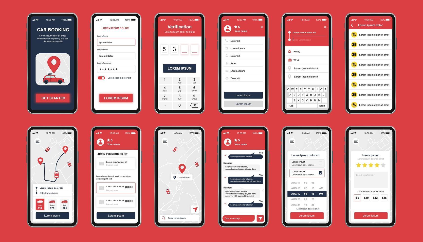 kit de design exclusivo de reserva de carro para aplicativo móvel vetor